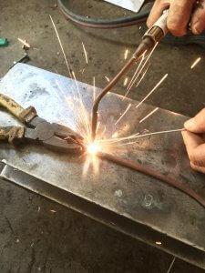 Weld with argon arc welding TIG